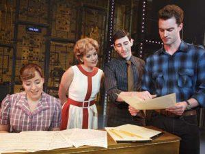 Abby Mueller (Carole King), Becky Gulsvig (Cynthia Weil), Ben Fankhauser (Barry Mann) and Liam Tobin (Gerry Goffin)_Joan Marcus