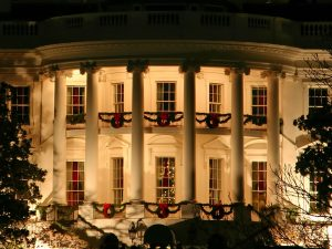 White House in Washington DC with christmas decoration (USA)
