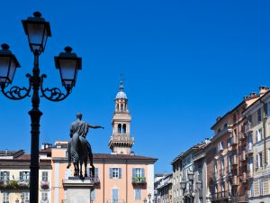 Italy, Piedmont, Monferrato, Casale Monferrato, Piazza Mazzini and the equestrian statue dedited to Carlo Alberto