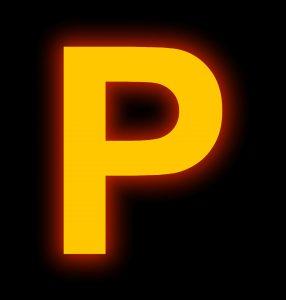 letter P neon light full isolated on black background