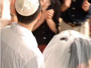 Jewish couple, just married.