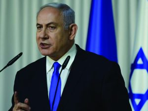 Israeli Prime Minister and head of the Likud party Benjamin Netanyahu delivers a statement to the media in Kfar Maccabiah, Ramat Gan on February 21, 2019. Photo by Tomer Neuberg/Flash90