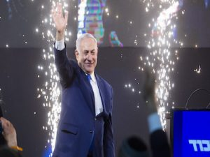 TEL AVIV, ISRAEL - APRIL 10: Prime Minster of Israel, Benjamin Netanyahu greets supporters as he attending his after vote speech on April 10, 2019 in Tel Aviv, Israel. (Photo by Amir Levy/Getty Images)